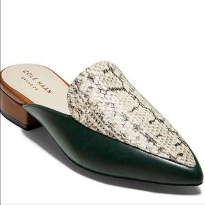 ColeHaan multicolor snake print leather piper mule